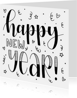 Nieuwjaarskaart - Happy new year handlettering