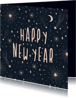 Nieuwjaarskaart happy new year met vuurwerk en sterren