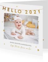Nieuwjaarskaart hello 2021 foto sterren goud liefde