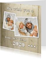 Nieuwjaarskaart Hip Houtprint Foto 2020