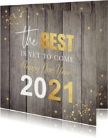 Nieuwjaarskaart hout 2021 typografie goudlook