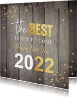 Nieuwjaarskaart hout 2022 typografie confetti goudlook