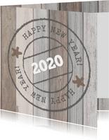 Nieuwjaarskaart hout poststempel