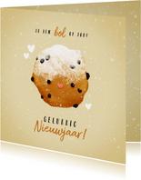 Nieuwjaarskaart 'ik ben bol op jou' met lieve oliebol