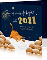 Nieuwjaarskaart kat oliebollen grappig 2021 kater sterren