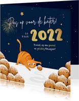 Nieuwjaarskaart kat oliebollen grappig 2022 kater sterren