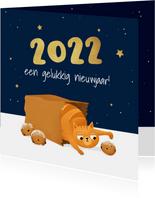 Nieuwjaarskaart kat poes sterren oliebollen illustratie 2022