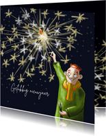 Nieuwjaarskaart man met sterretjes