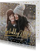 Nieuwjaarskaart met eigen foto, gouden 2022 en confetti