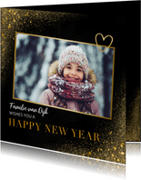 Nieuwjaarskaart met foto, goudlook en happy new year