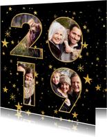 Nieuwjaarskaart met gouden sterren en 2019 fotocollage