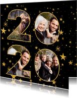 Nieuwjaarskaart met gouden sterren en 2020 fotocollage