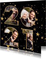 Nieuwjaarskaart met gouden sterren en 2021 fotocollage