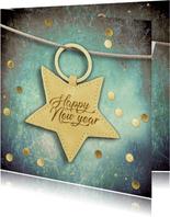 Nieuwjaarskaart met sterrenlabel