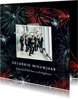 Nieuwjaarskaart met vuurwerk en foto