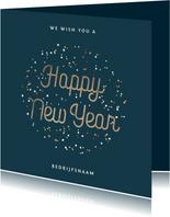 Nieuwjaarskaart nieuwjaarsborrel goudlook confetti zakelijk