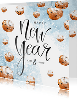 Nieuwjaarskaart oliebollen waterverf poedersuiker