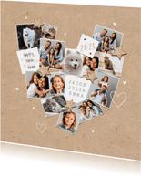 Nieuwjaarskaart persoonlijk fotocollage hart liefde sterren