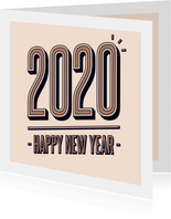 Nieuwjaarskaart retro 2020 happy new year