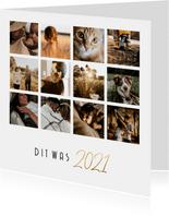 Nieuwjaarskaart simpele fotocollage 12 foto's