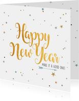 Nieuwjaarskaart sparkling gold