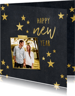 Nieuwjaarskaart sterren krijtbord foto met tape