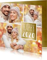 Nieuwjaarskaarten - Nieuwjaarskaart trendy fotocollage 2020 goud