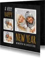 Nieuwjaarskaart trendy krijt fotocollage