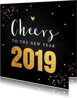 Nieuwjaarskaart typografie goud confetti