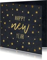 Nieuwjaarskaart typografie met sterren goud