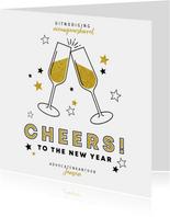 Nieuwjaarskaart uitnodiging borrel champagne en sterren