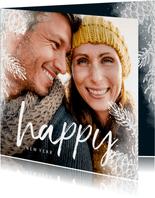 Nieuwjaarskaart vierkant dennentakje met foto achtergrond