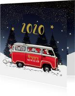 Nieuwjaarskaart Volkswagenbusje