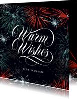 Nieuwjaarskaart vuurwerk stijlvol zakelijk warm wishes