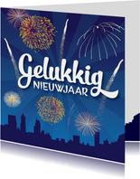 Nieuwjaarskaart vuurwerk vrolijk