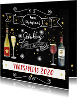 Nieuwjaarskaart wijn handlettering