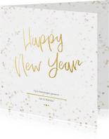Nieuwjaarskaart wit en goud