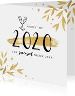 Nieuwjaarskaart zakelijk 2020 champagne proost goud