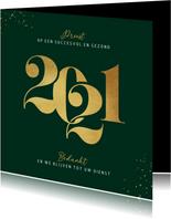 Nieuwjaarskaart zakelijk 2021 grafisch stijlvol goud