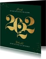 Nieuwjaarskaart zakelijk 2022 grafisch stijlvol goud