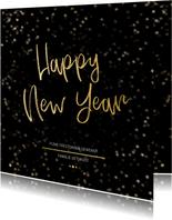 Nieuwjaarskaart zwart en goud