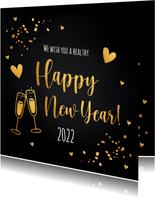 Nieuwjaarskaart zwart goudlook champagne hartjes