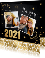Nieuwjaarskaart zwart goudlook panterprint foto