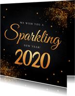 Nieuwjaarskaart zwart typografie goudlook glitter
