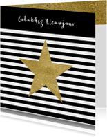 Nieuwjaarskaarten - Nieuwjaarskaart zwart wit goud