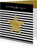 Nieuwjaarskaart zwart wit goud