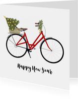 Nieuwjaarskaarten - Nieuwsjaarskaart Fiets met Kerstboom