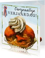 Oergezellige verjaardagskaart met oranje Hollandse moorkop