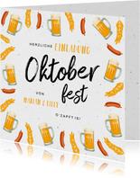 Oktoberfest-Einladung Biergläser und Würstchen