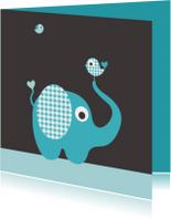 Felicitatiekaarten - Olifant, ruitje, vogeltje, blauw